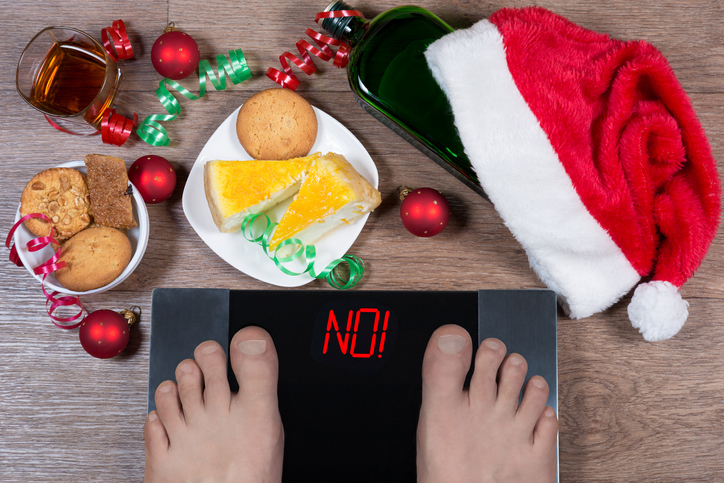 Scale weighing 'no' in holiday setting