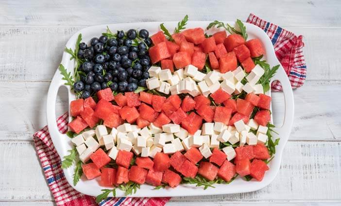 America Flag made of fruit