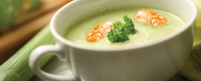 Creamy Leek Soup with Shrimp