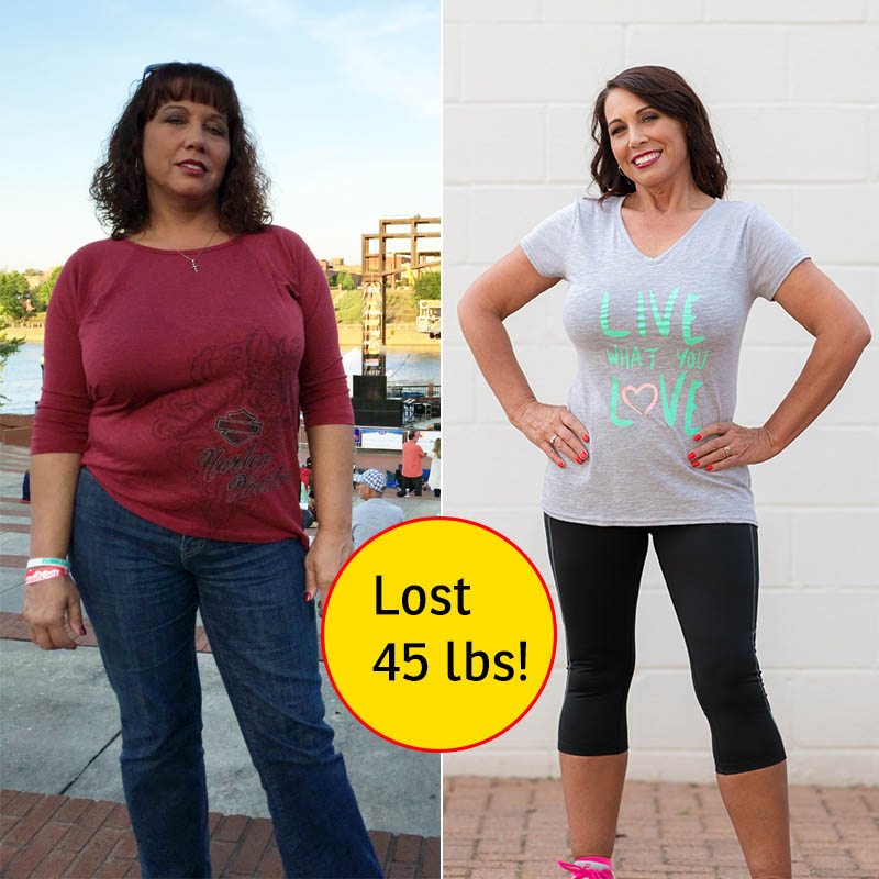 PIctures of Sondra before and after weight loss